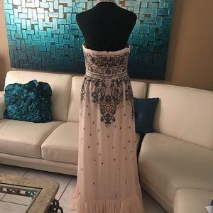 BCBG cream maxi dress with blue-grey lace design